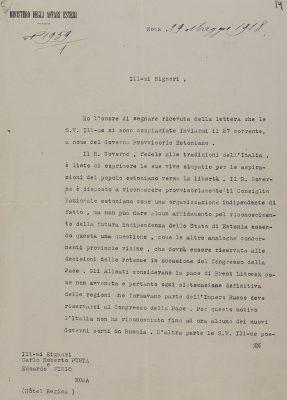 Lettera del Ministero degli Affari Esteri italiano a Karl Robert Pusta e Eduard Virgo. Foto: Archivio nazionale (ERA.957.11.33)