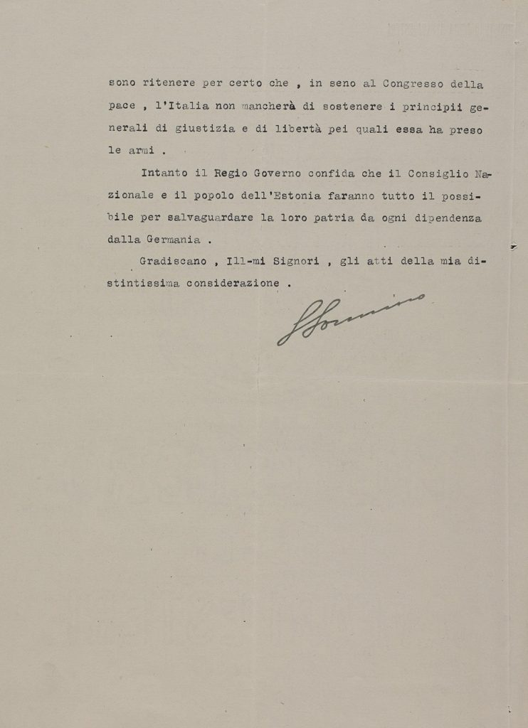 Letter from the Italian Ministry of Foreign Affairs to Karl Robert Pusta and Eduard Virgo. Photograph: National Archives (ERA.957.11.33)
