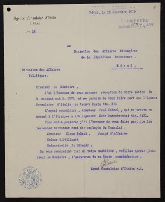 Letter from the Italian consular agency to the Estonian Ministry of Foreign Affairs. Photograph: National Archives (ERA.957.11.50)