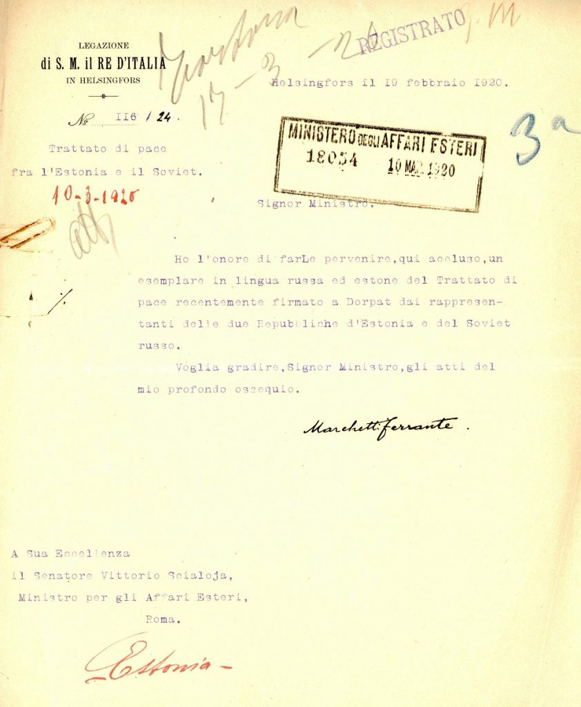Report of the Italian embassy in Helsingfors on 10 February 1920, forwarding the text of the Tartu Peace Treaty to Rome in Russian and Estonian. Photograph: In ASMAECI, Affari Politici 1919–1930, b. 1016, f. 'Trattazione Generale 1920'. Archives of the Italian Ministry of Foreign Affairs