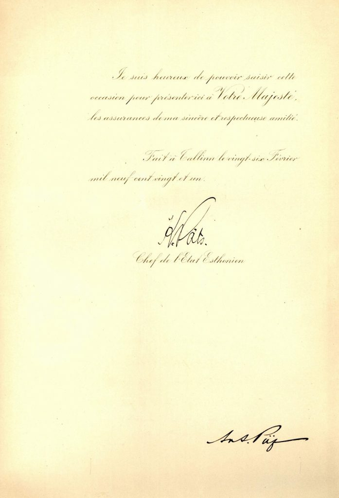 Credentials of Karl Robert Pusta, signed by State Elder Konstantin Päts on 26 February 1921. Photograph: Archives of the Italian Ministry of Foreign Affairs In ASMAECI, Direzione Generale del Personale, Serie X Legazioni estere in Italia, b. 13, f. 26 Estonia