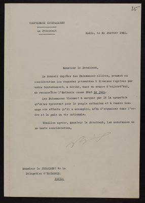 Letter from Aristide Briand, Chairman of the Supreme War Council, to the Estonian representative in Paris. Photograph: National Archives ERA.957.11.33