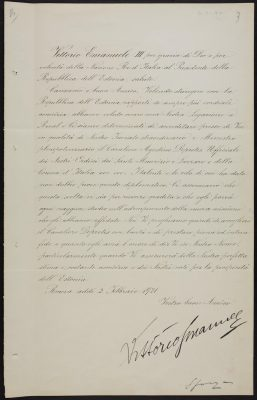 Credentials of Agostino Depretis, signed by King Vittorio Emanuele III of Italy. Photograph: National Archives ERA.957.7.9