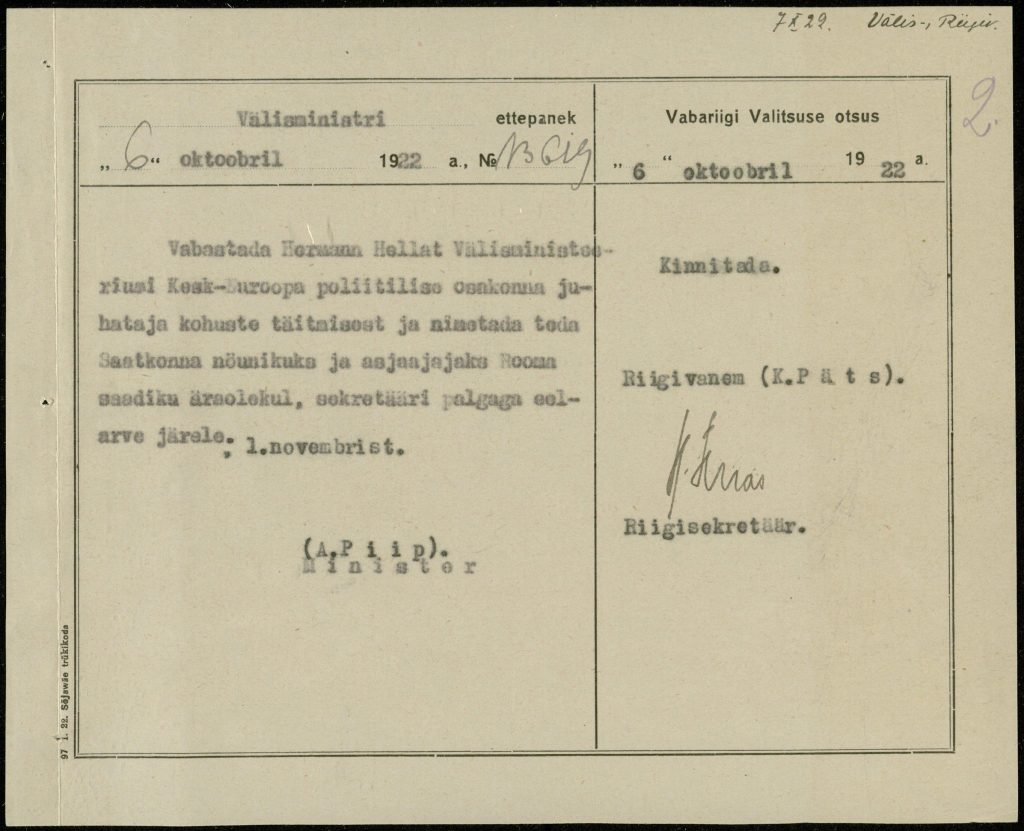 Proposal of the Minister of Foreign Affairs and decision of the government to appoint Hermann Hellat as chargé d'affaires in Rome Photograph: National Archives