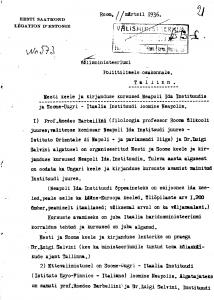 Eesti saatkonna Roomas raport välisministeeriumile Tallinnas. Foto: Rahvusarhiiv (ERA.957.14.227)