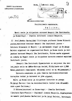 Report of the Embassy of Estonia in Rome to the Ministry of Foreign Affairs in Tallinn. Photograph: National Archives (ERA.957.14.227)