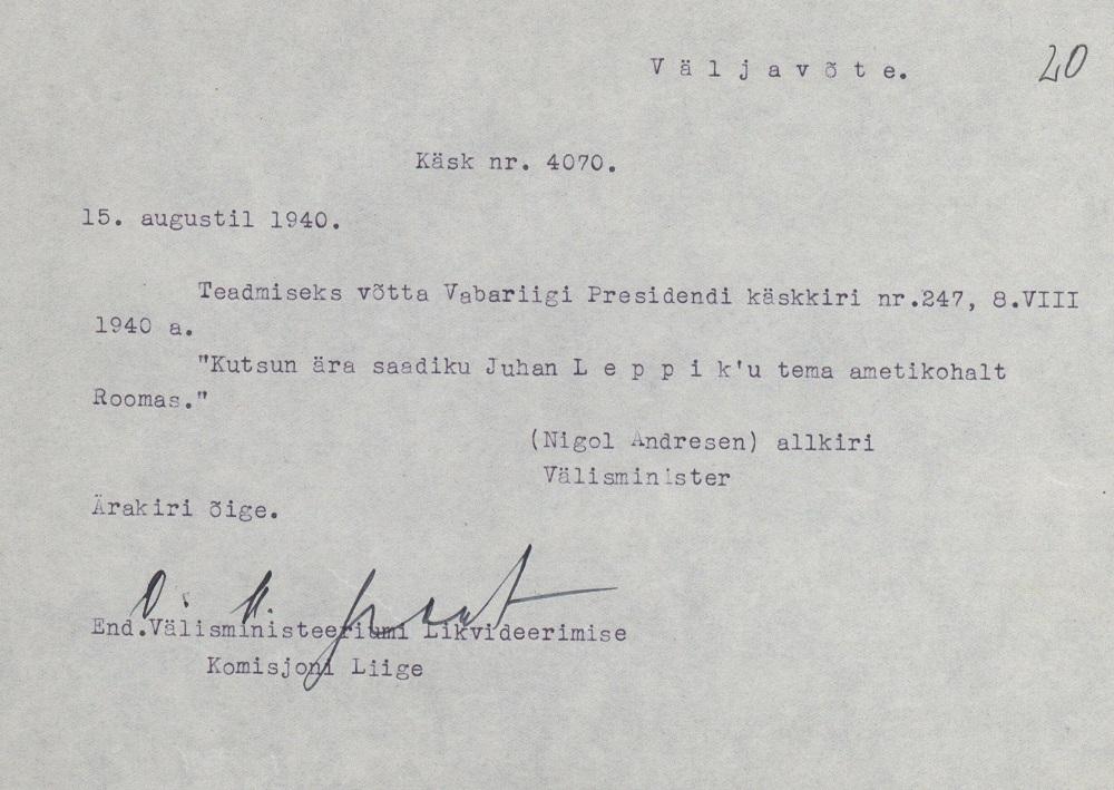 Recall of Johan Leppik on 15 August 1940. Photograph: National Archives (ERA.957.15.1)