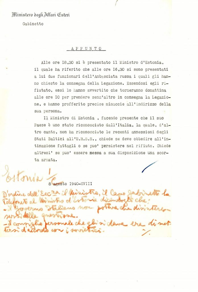 Report of the Italian Ministry of Foreign Affairs of 8 August 1940-XVIII Photograph: Italian Ministry of Foreign Affairs ASMAECI, Affari Politici 1931–1945, Estonia, b. 4., f. 1 'Rapporti politici 1940'