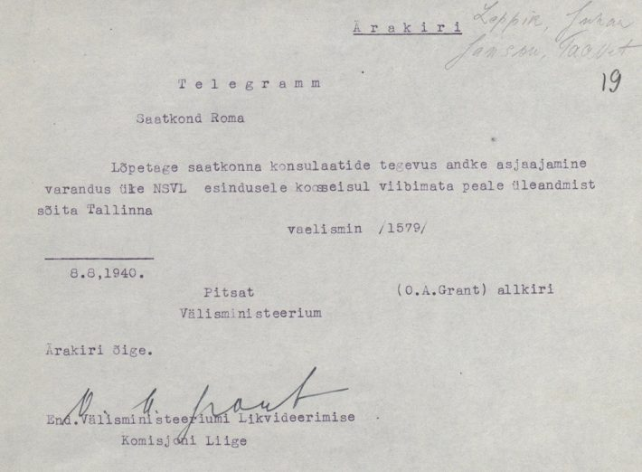 Telegram with an order to hand over the embassy to the USSR on 8 August 1940. Photograph: National Archives (ERA.957.15.1)
