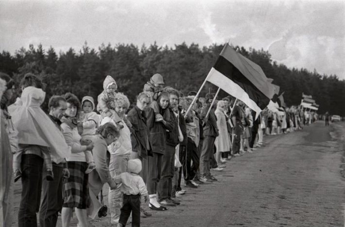 The Baltic Way. Photograph: National Archives, Harald Lepikson