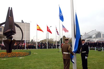 Estonian flag ceremony at NATO headquarters in Brussels. Photograph: Archives of the Ministry of Foreign Affairs